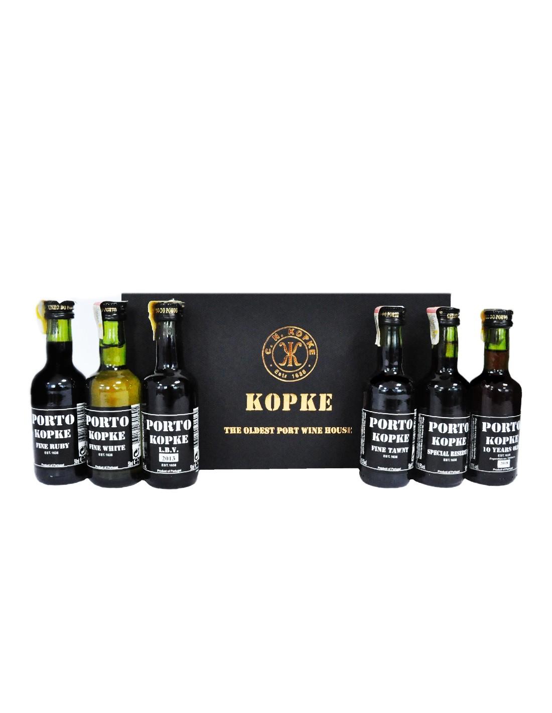 Vin porto Kopke, kit 6 miniaturi, 20% alc., 0.05L, Portugalia