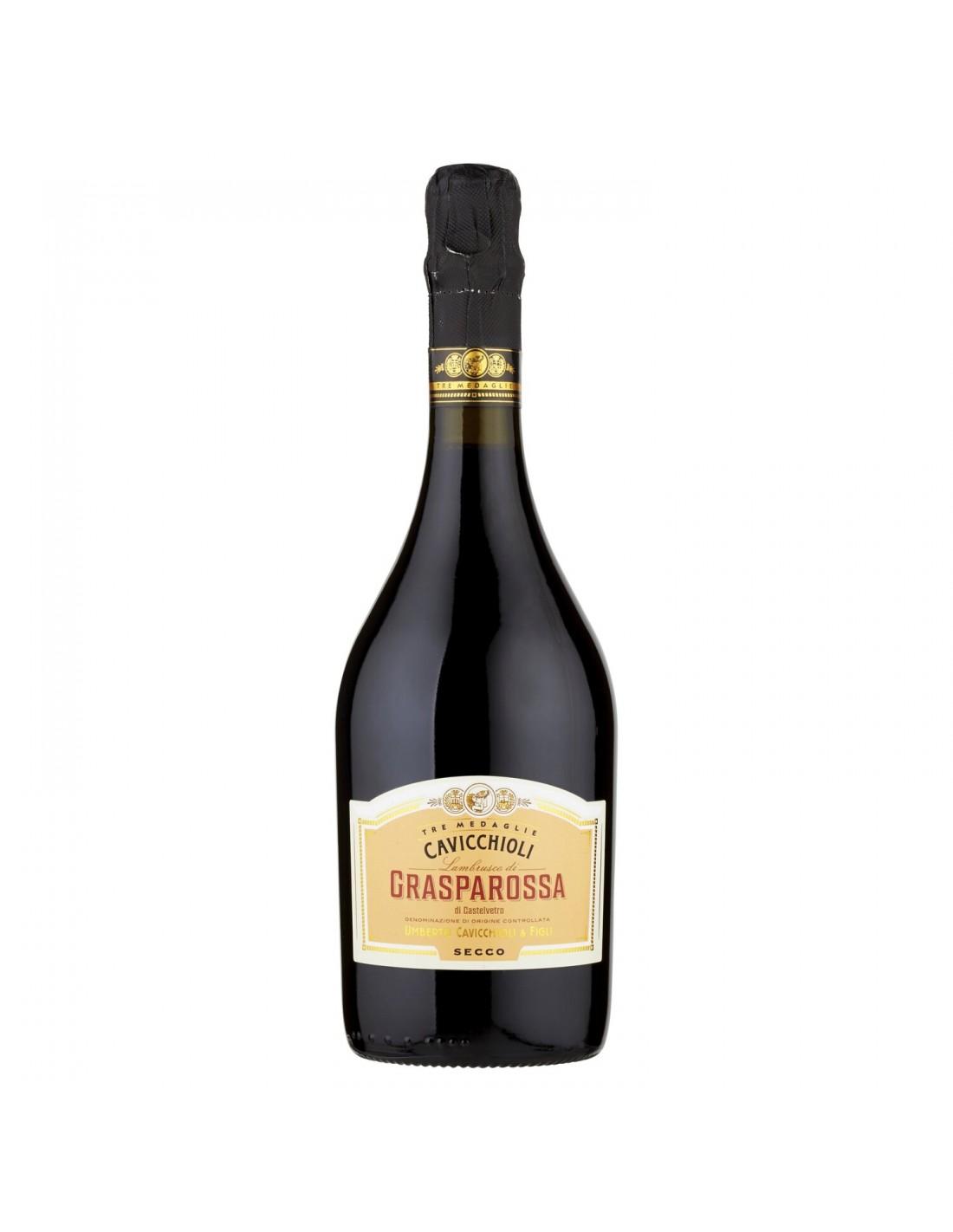 Vin frizzante Cavicchioli Grasparossa Secco, 11% alc., 0.75L, Italia