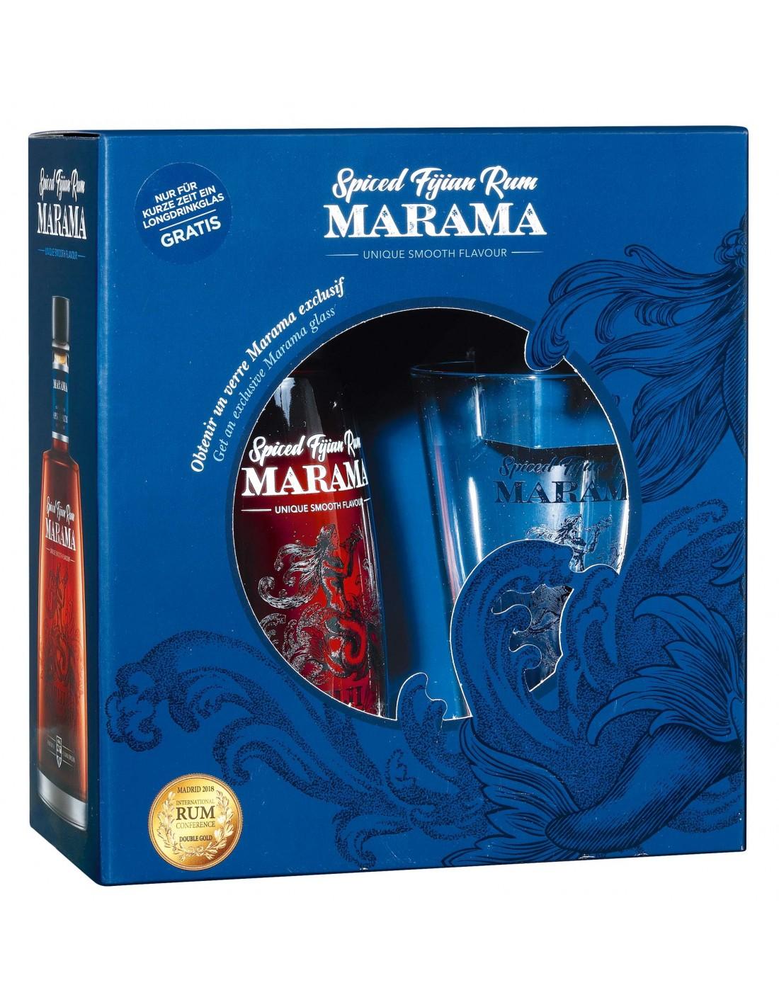 Rom Marama Spiced Fijian + Pahar, 40% alc., 0.7L, Fiji