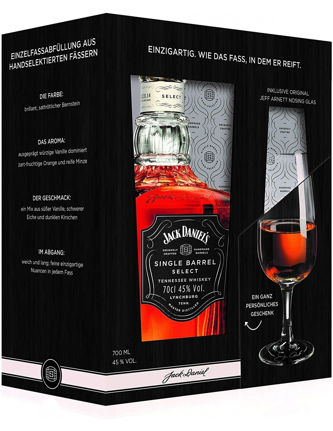 Whisky Bourbon Jack Daniels Single Barrel + pahar, 45% alc., 0.7L