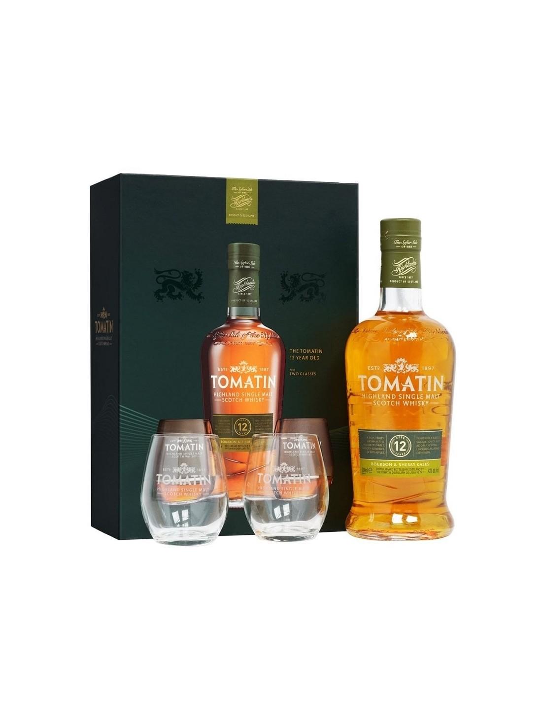 Whisky Tomatin, 12 ani + 2 pahare, 43% alc., 0.7L, Scotia