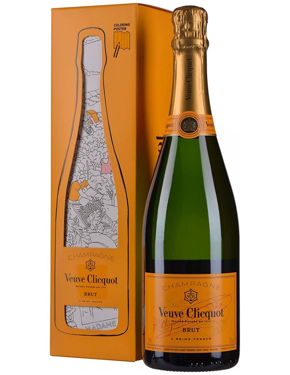 Sampanie Veuve Clicquot Brut Champagne + Poster de colorat pentru copii, 12% alc., 0.75L, Franta