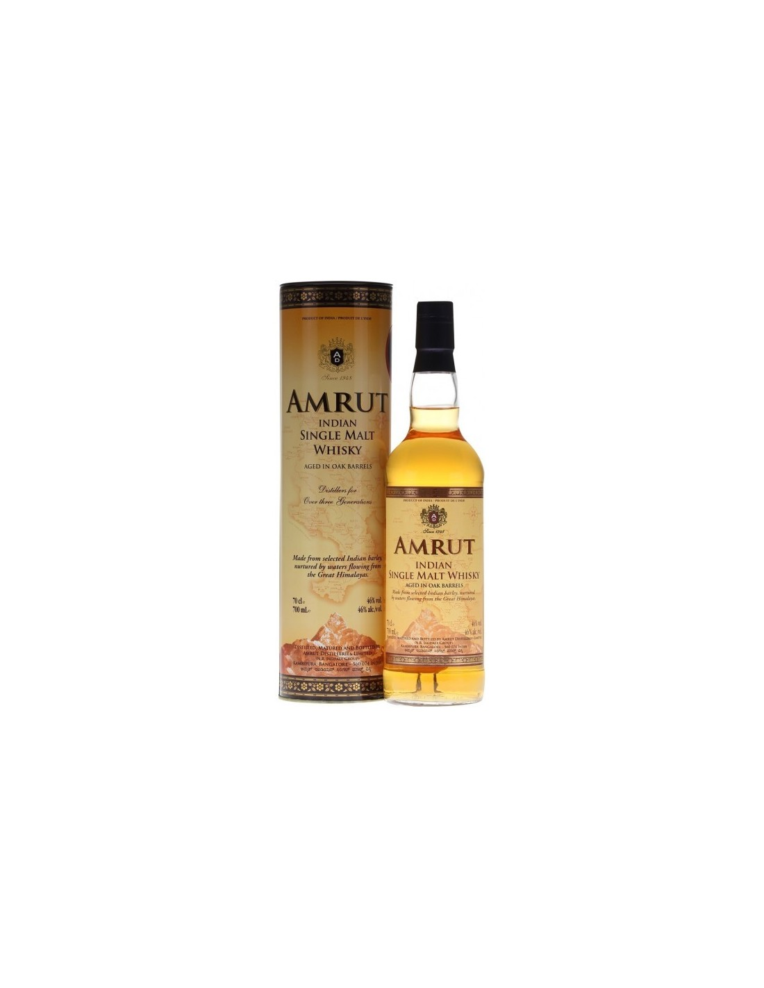 Whisky Amrut Indian Single Malt, 46% alc., 0.7L, India