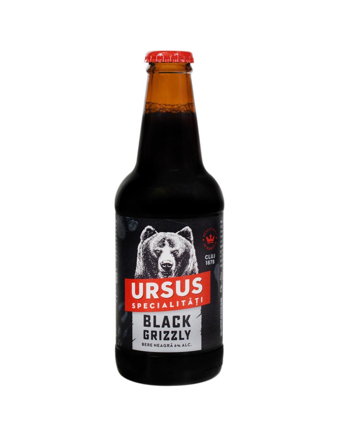 Bere neagra Ursus Black Grizzly, 6% alc., 0.33L, Romania
