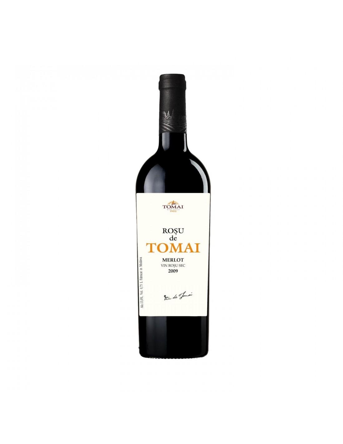 Vin rosu sec, Merlot, Rosu de Tomai, 0.75L, 13% alc., Republica Moldova