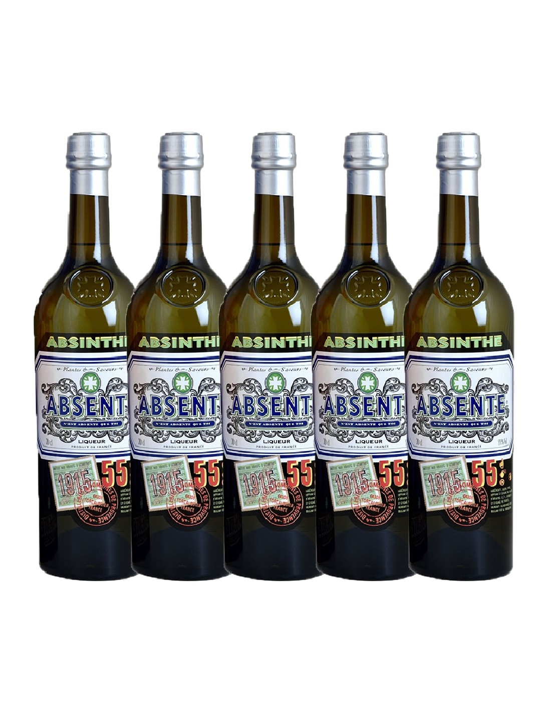 Pachet 5 sticle Absint Absente, 55% alc., 0.7L