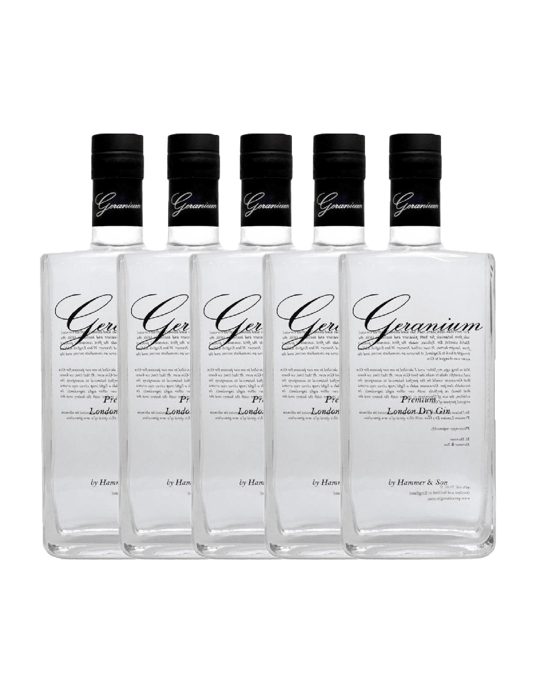 Pachet 5 sticle Gin Geranium 44% alc., 0.7L, Marea Britanie