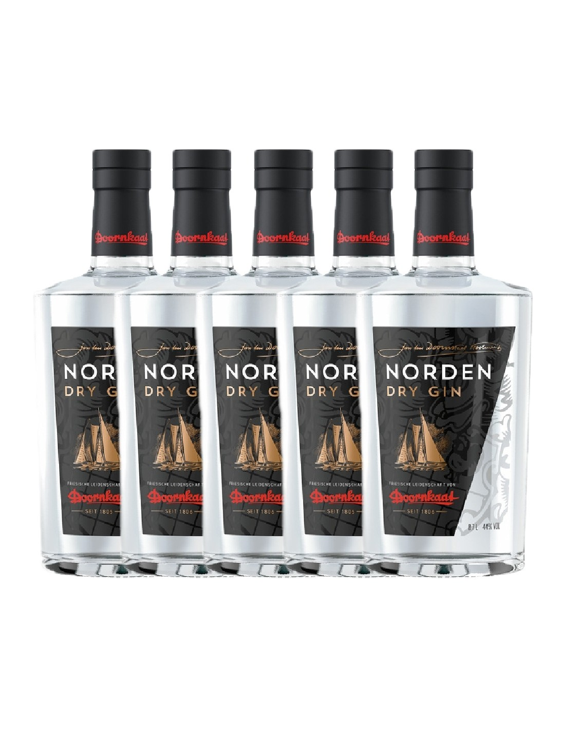 Pachet 5 sticle Gin Norden Dry By Doornkaat 44% alc., 0.7L, Germania