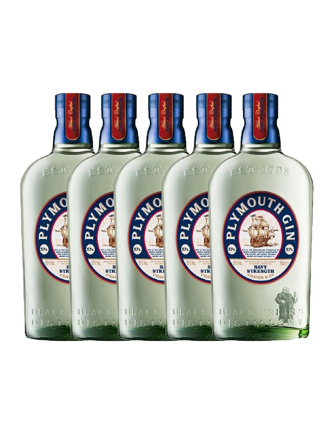 Pachet 5 sticle Gin Plymouth 41.2% alc., 0.7L, Anglia
