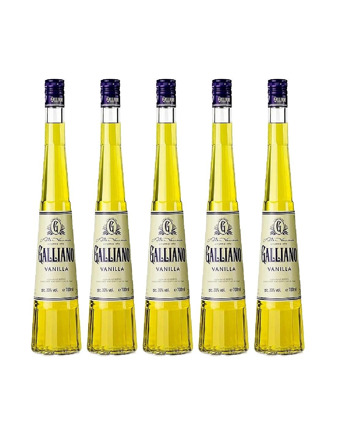 Pachet 5 sticle Lichior Galliano Vanilla 30% alc., 0.7L, Italia