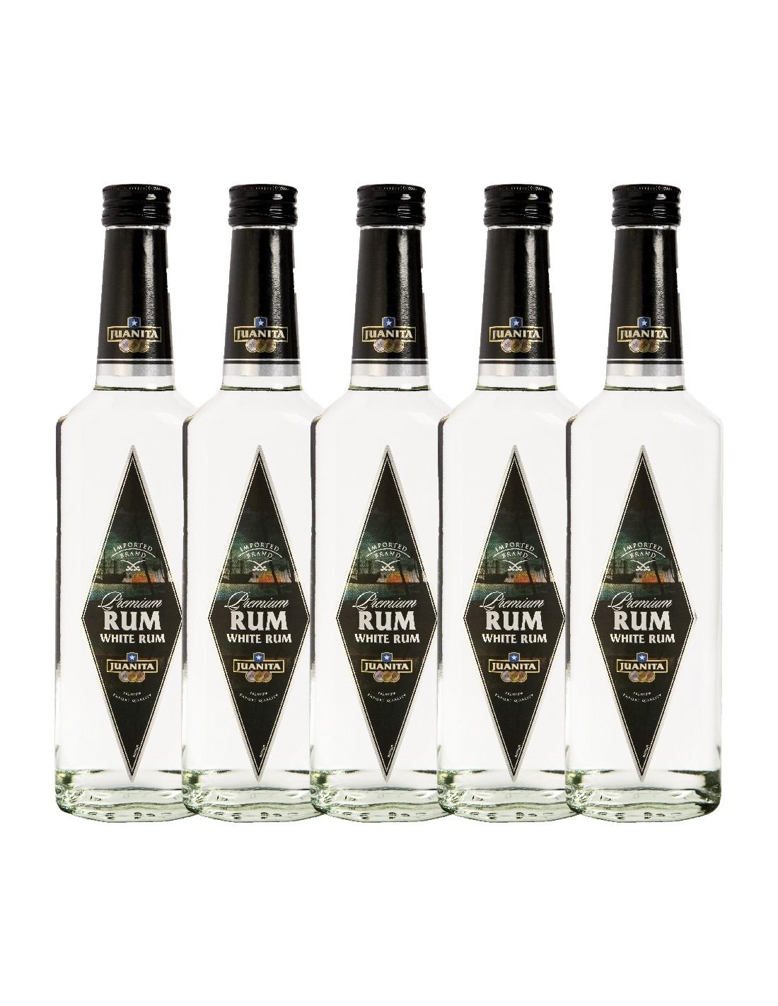Pachet 5 sticle Rom alb Juanita, 37.5% alc., 0.5L