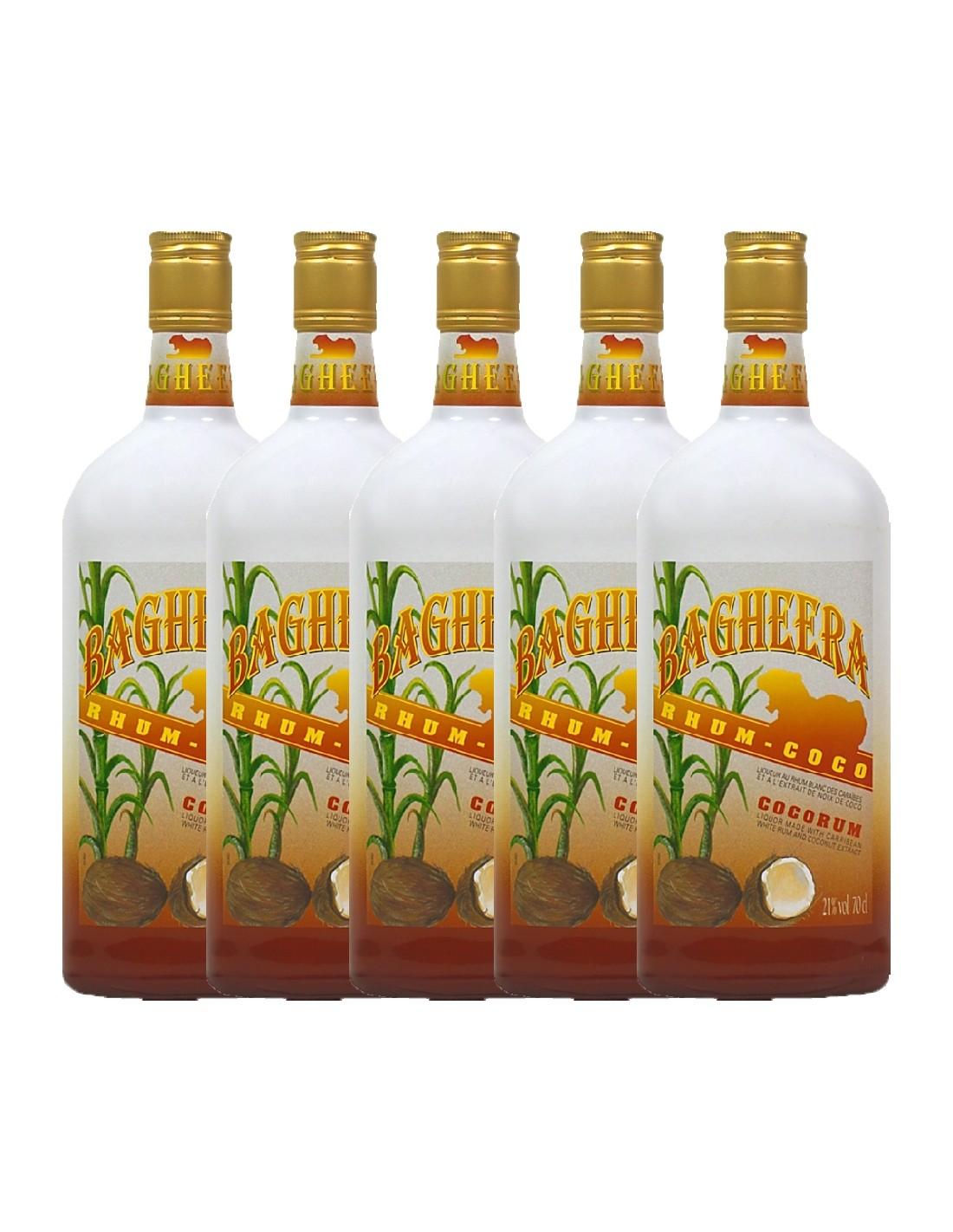 Pachet 5 sticle Rom cocos Bagheera, 21% alc., 0.7L