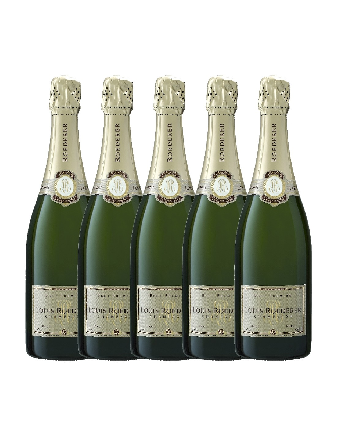 Pachet 5 sticle Sampanie Louis Roederer Premier Brut Champagne, 0.75L, 12% alc., Franta