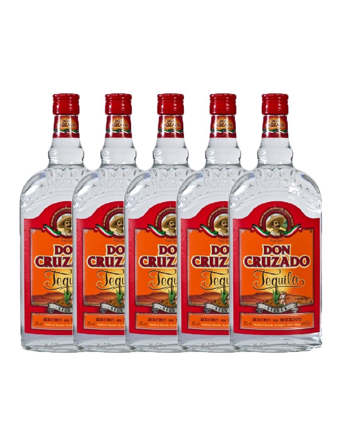 Pachet 5 sticle Tequila alba Don Cruzado Silver 0.7L, 38% alc., Mexic