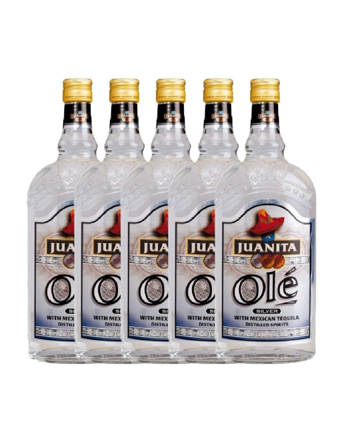 Pachet 5 sticle Tequila alba Juanita Ole Silver 0.7L, 38% alc., Germania