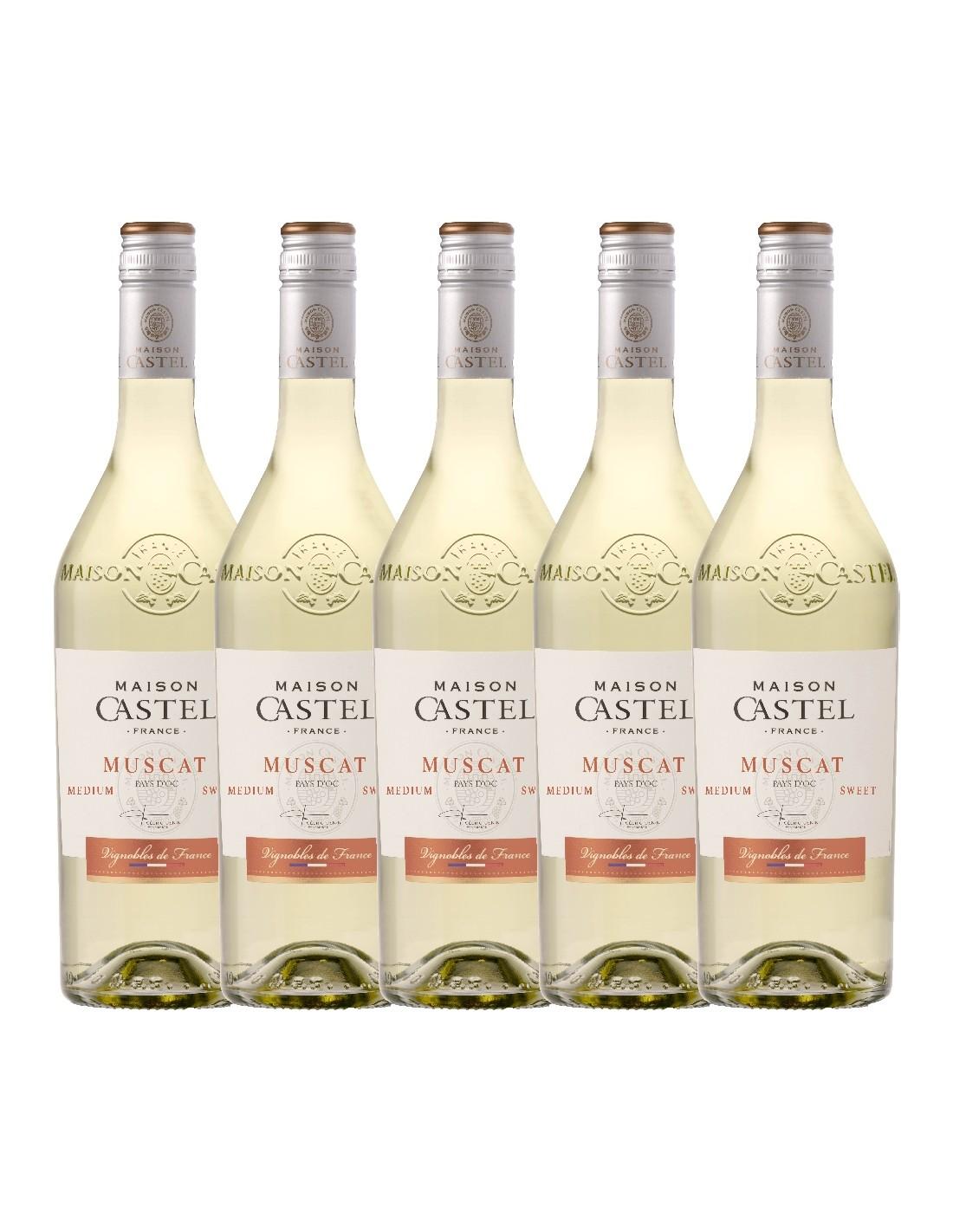 Pachet 5 sticle Vin alb dulce, Muscat, Maison Castel Pays dOc, 0.75L, 12% alc., Franta