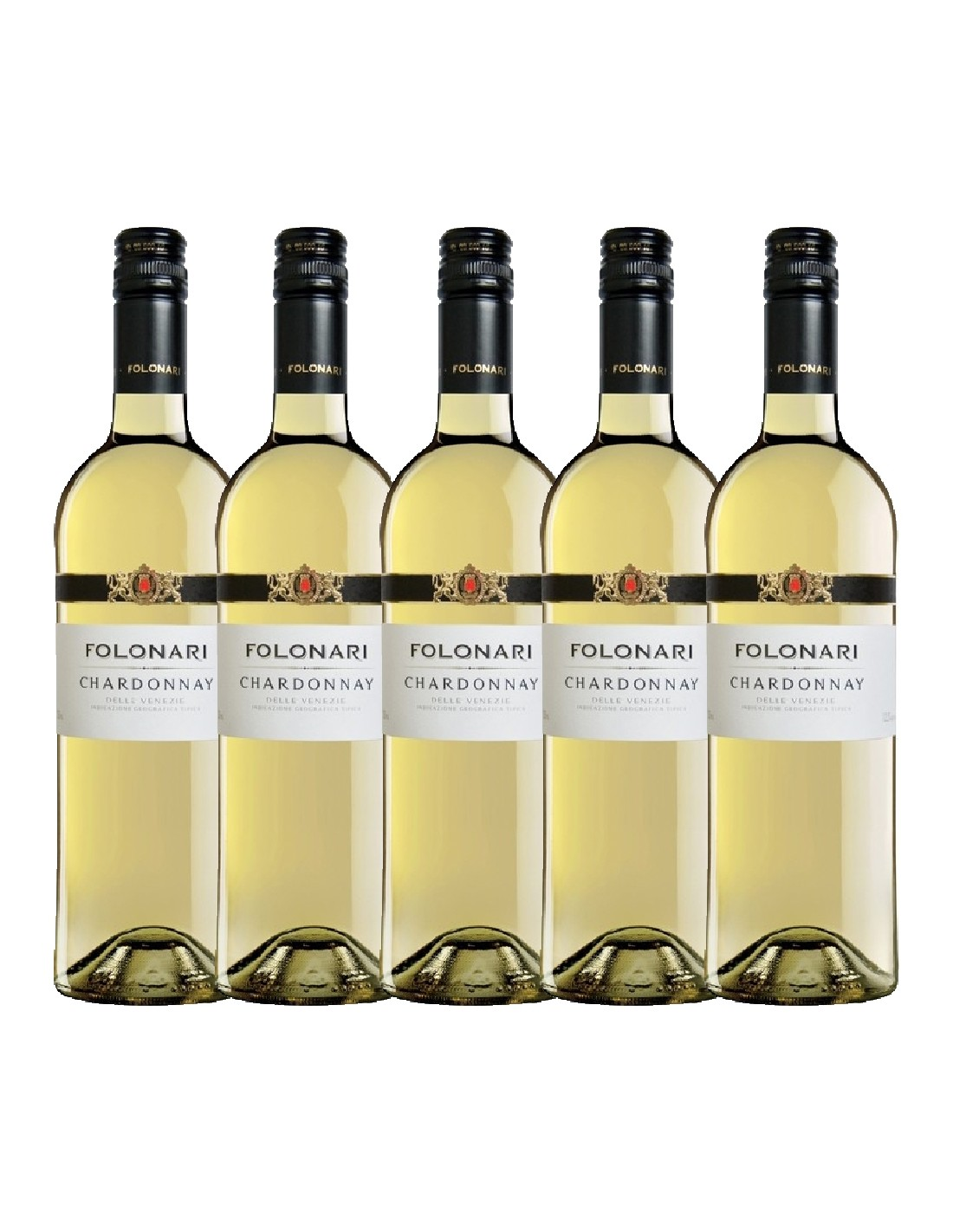 Pachet 5 sticle Vin alb sec, Chardonnay, Folonari Delle Venezie, 0.75L, 12.5% alc., Italia