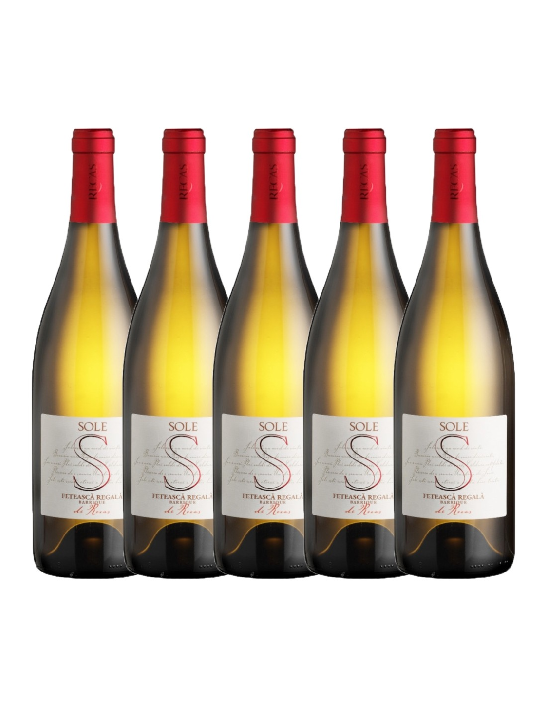 Pachet 5 sticle Vin alb sec, Feteasca Regala, Sole Recas, 0.75L, 13.5% alc., Romania