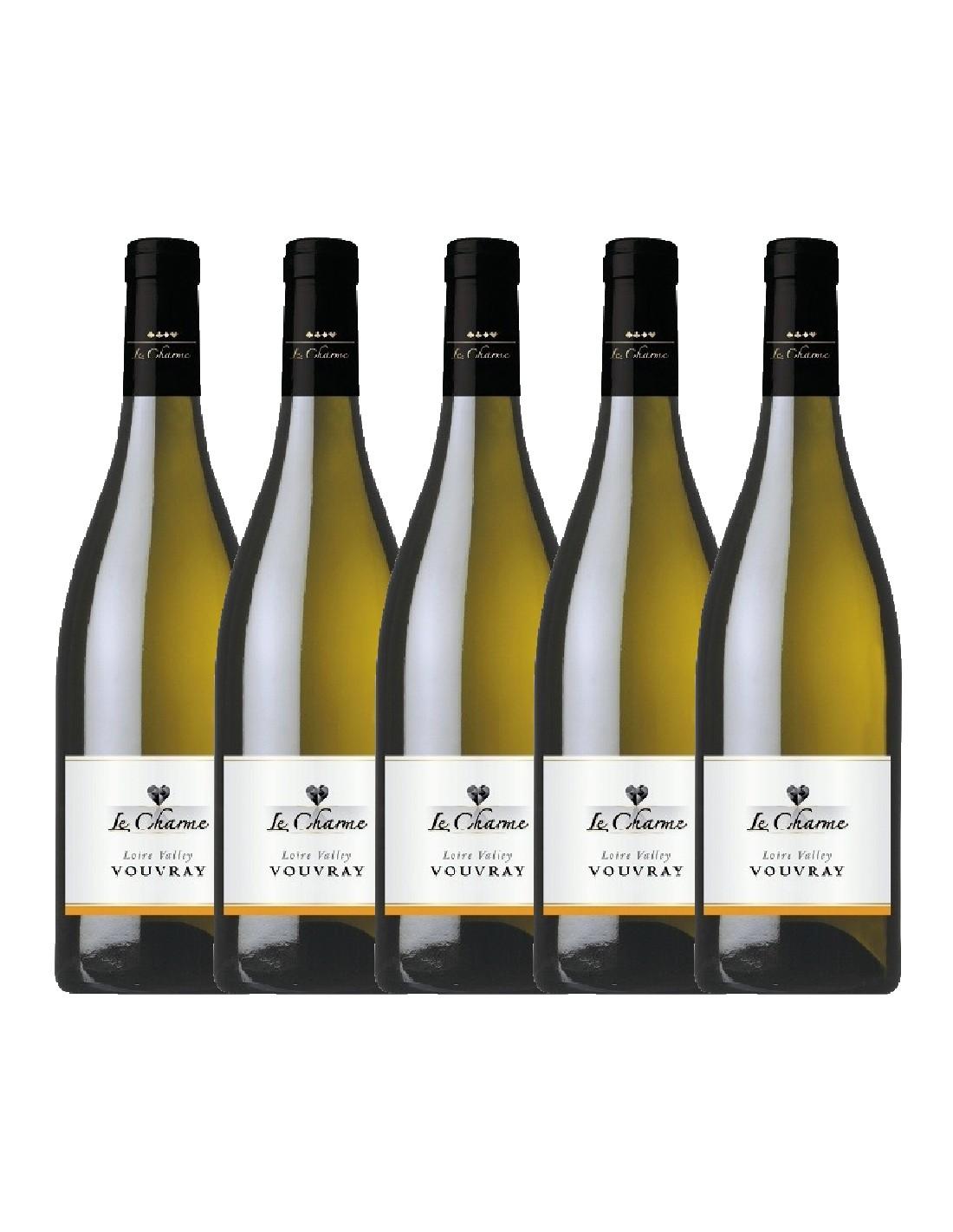 Pachet 5 sticle Vin alb sec, Le Charme Vouvray, 0.75L, 11.5% alc., Franta