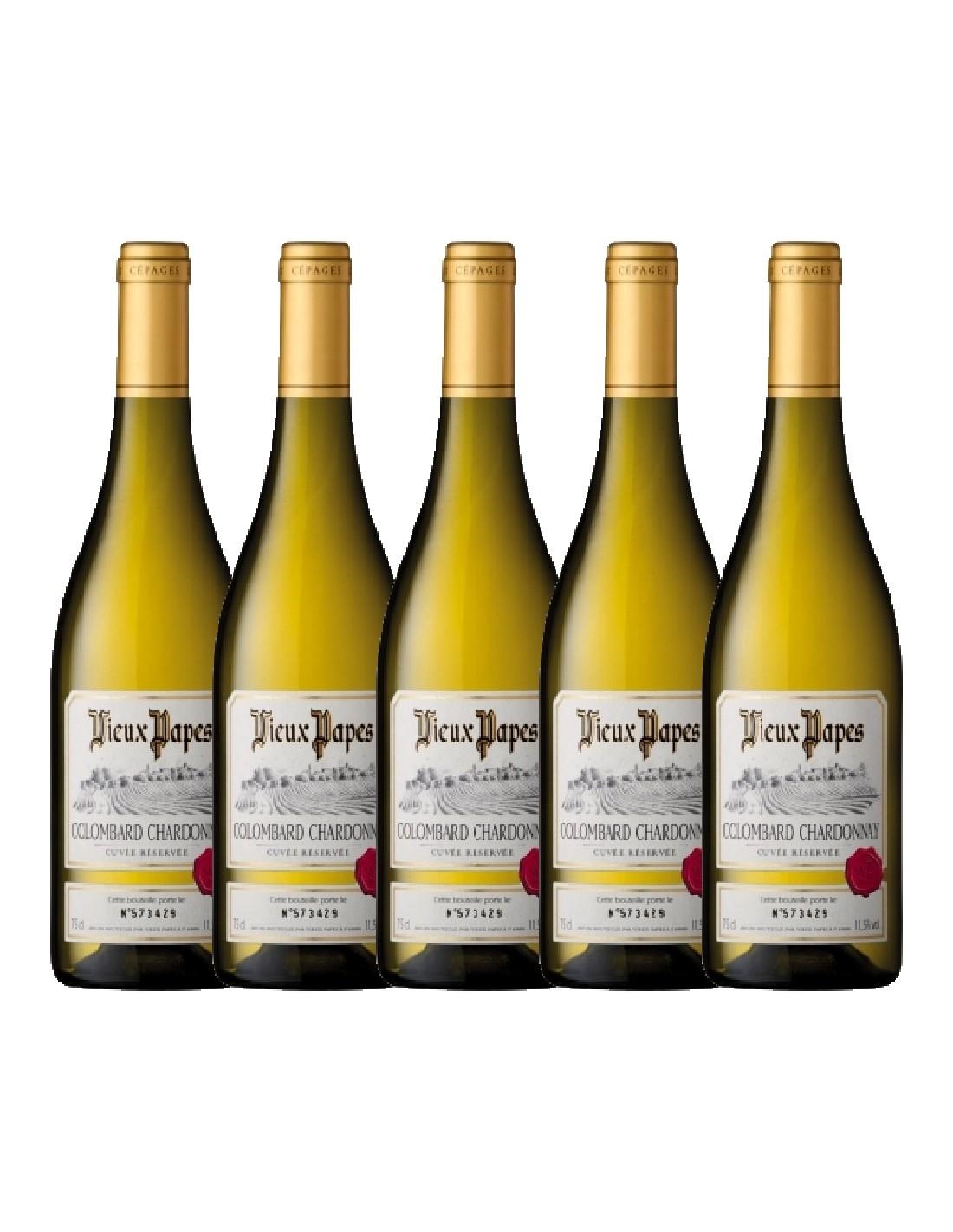 Pachet 5 sticle Vin alb, Chardonnay - Colombard, Vieux Papes, 0.75L, 12% alc., Franta