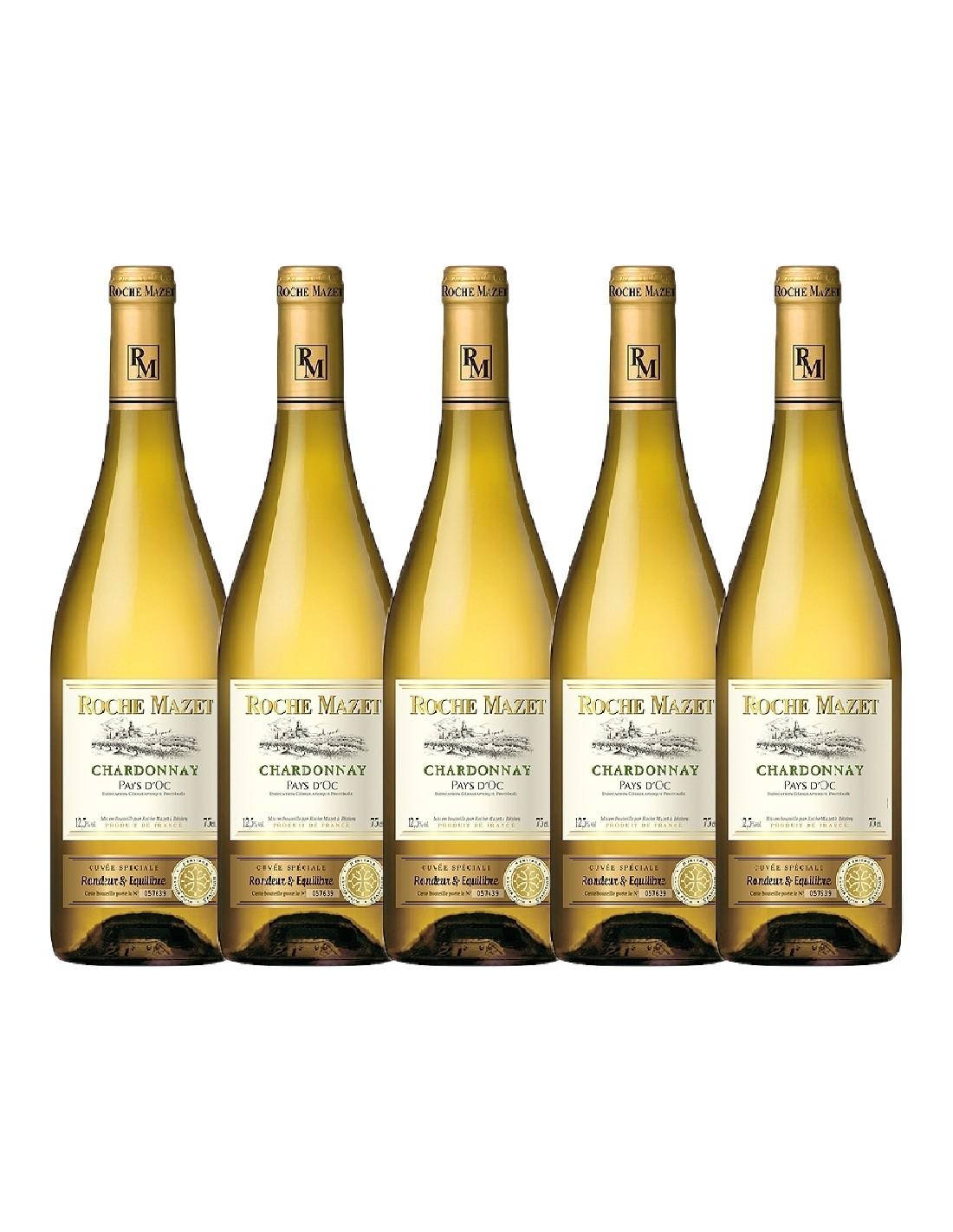 Pachet 5 sticle Vin alb, Chardonnay, Roche Mazet Pays dOc, 0.75L, Franta
