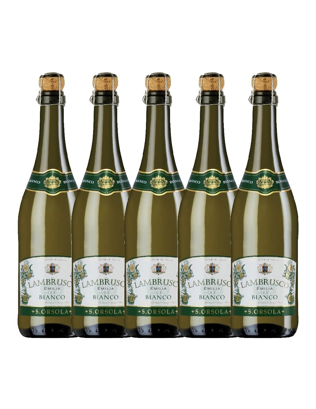 Pachet 5 sticle Vin alb, Lambrusco, SantOrsola Emilia-Romagna, 0.75L, 8% alc., Italia