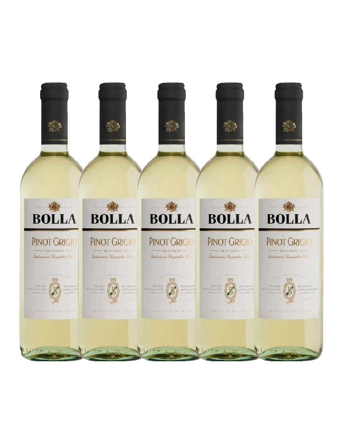 Pachet 5 sticle Vin alb, Pinot Grigio, Bolla delle Venezie, 0.75L, 12.5% alc., Italia