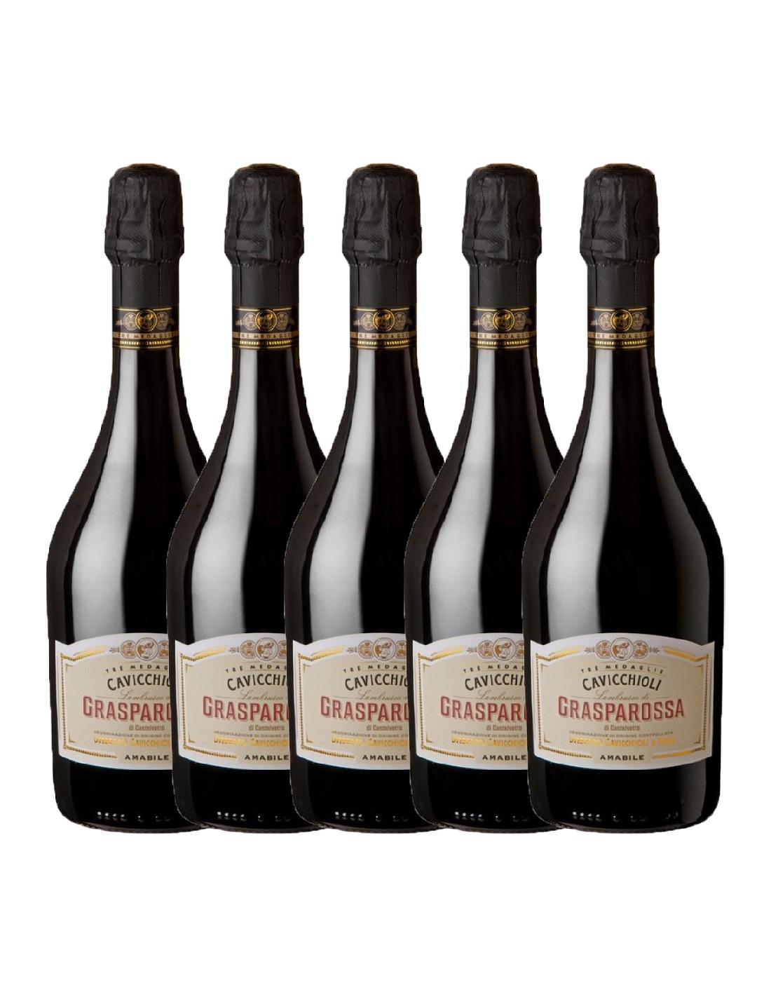 Pachet 5 sticle Vin frizzante Cavicchioli Grasparossa Amabile, 8% alc., 0.75L, Italia