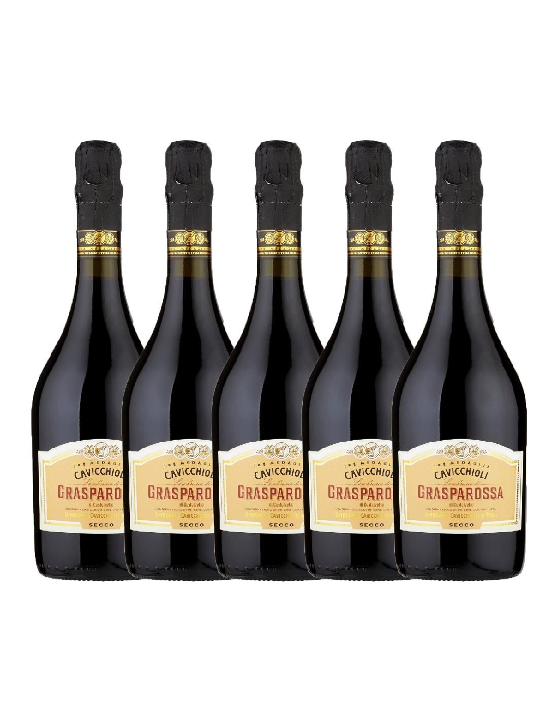 Pachet 5 sticle Vin frizzante Cavicchioli Grasparossa Secco, 11% alc., 0.75L, Italia