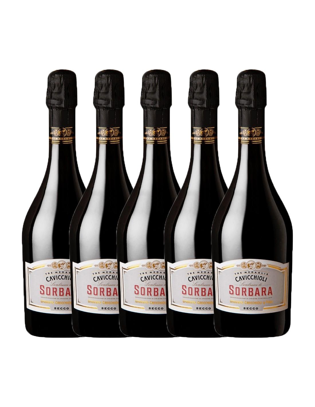 Pachet 5 sticle Vin frizzante Cavicchioli Sorbara Secco, 11% alc., 0.75L, Italia