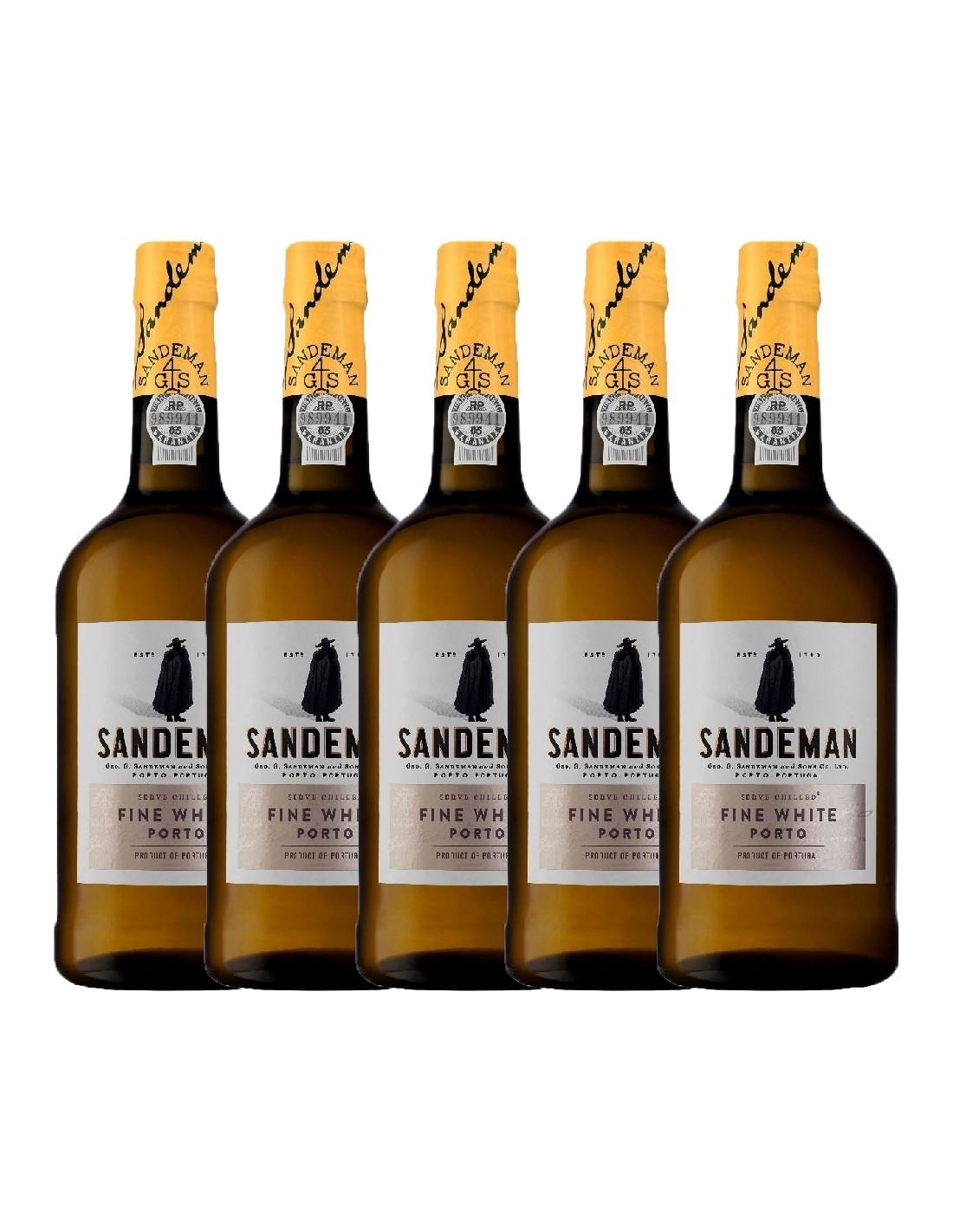 Pachet 5 sticle Vin porto alb, Cupaj, Sandeman White Porto, 0.75L, 19.5% alc., Portugalia