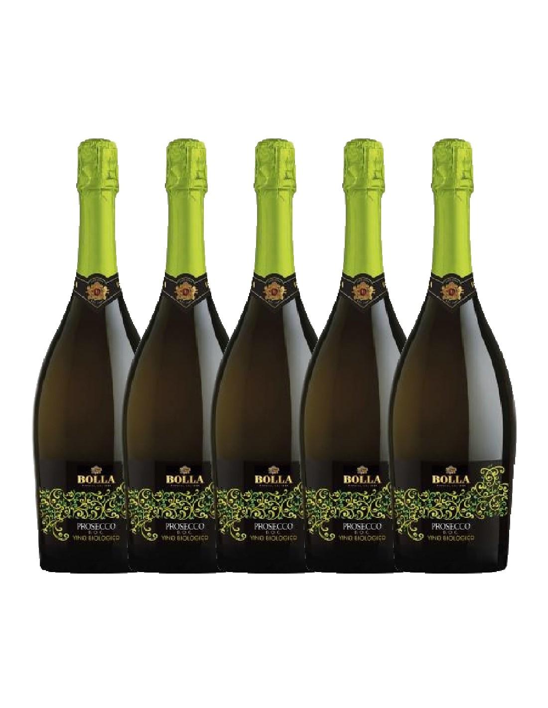 Pachet 5 sticle Vin prosecco Bolla Biologico Veneto, 0.75L, 11% alc., Italia