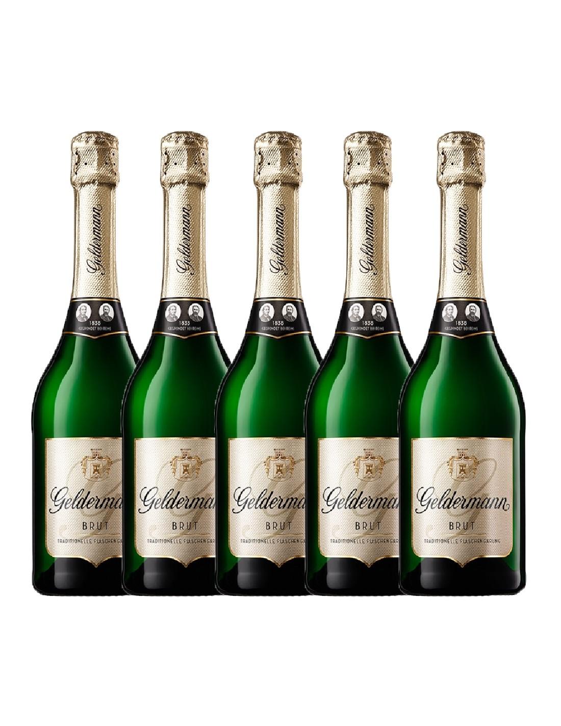 Pachet 5 sticle Vin spumant alb brut, Cupaj, Geldermann Baden, 0.75L, 13% alc., Germania