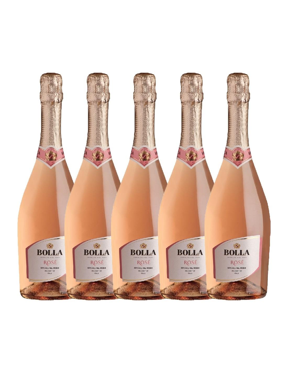 Pachet 5 sticle Vin spumant roze, Bolla Veneto, 0.75L, 11% alc., Italia