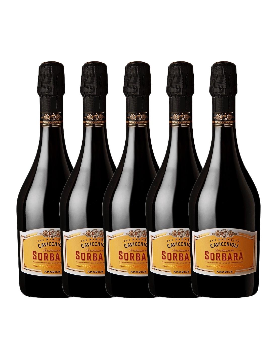 Pachet 5 sticle Vin frizzante Cavicchioli Sorbara Amabile, 8% alc., 0.75L, Italia