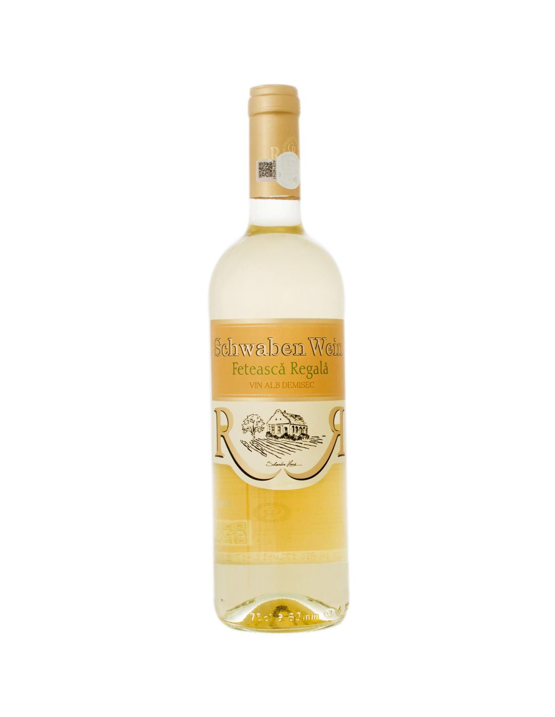 Vin alb demisec, Feteasca Regala, Schwaben Wein Recas, 0.75L, 12% alc., Romania