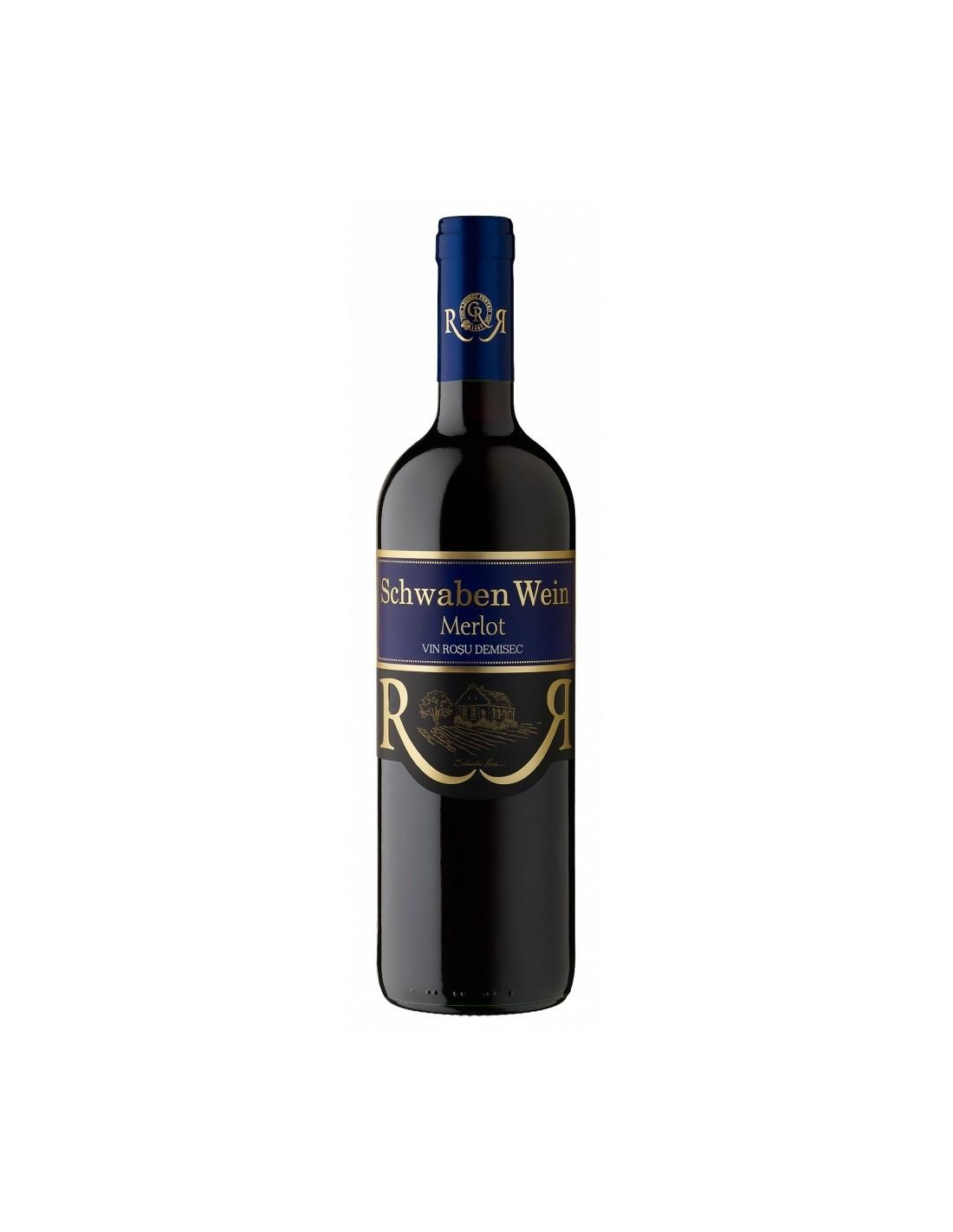 Vin rosu demisec, Merlot, Schwaben Wein Recas, 0.75L, 13.5% alc., Romania
