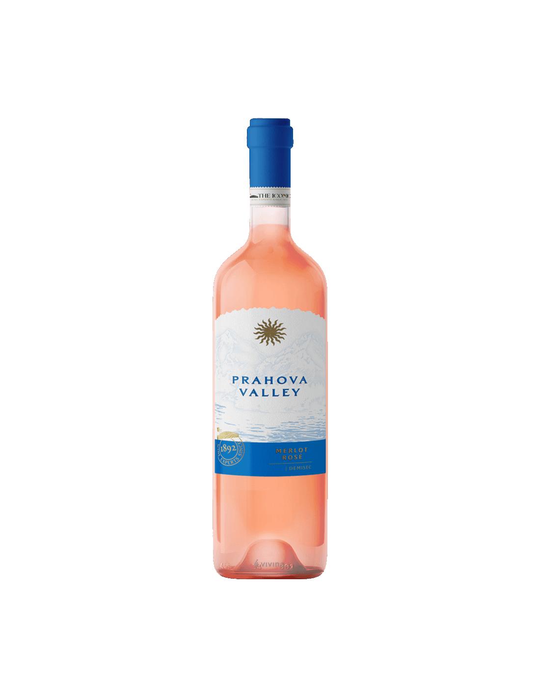 Vin roze demisec, Merlot, Prahova Valley + tirbuson, 13% alc., 0.75L, Romania