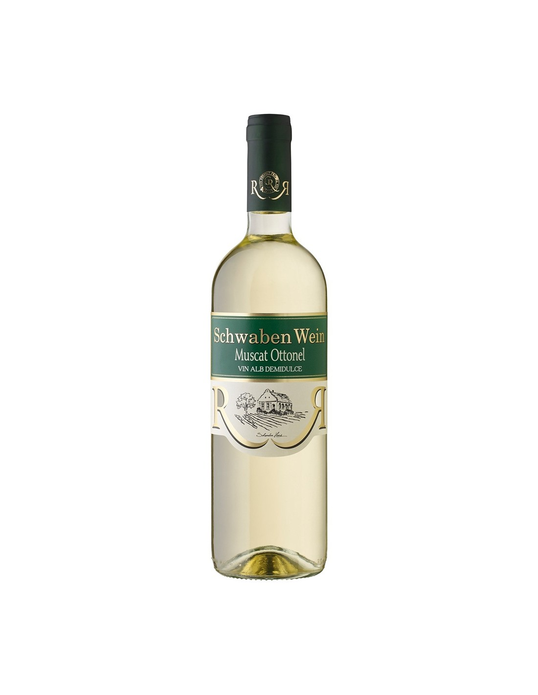 Vin alb demidulce, Muscat Ottonel, Schwaben Wein Recas, 0.75L, 12% alc., Romania