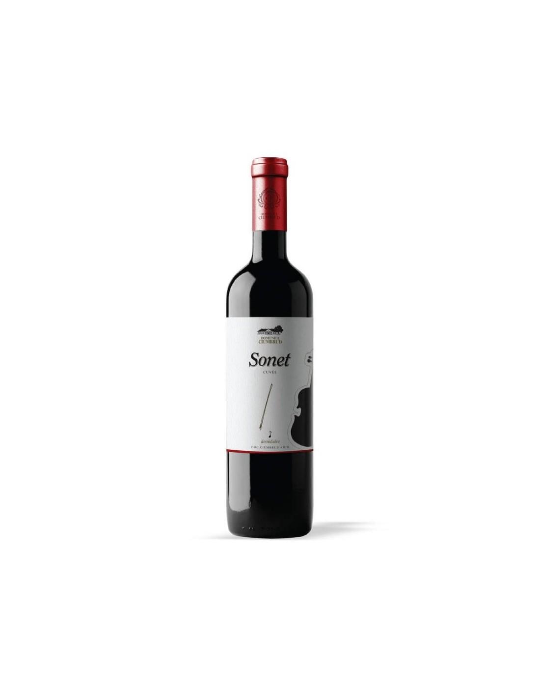 Vin rosu demisec, Feteasca Neagra & Pinot Noir, Sonet, Ciumbrud, 11.4% alc., 0.75L, Romania