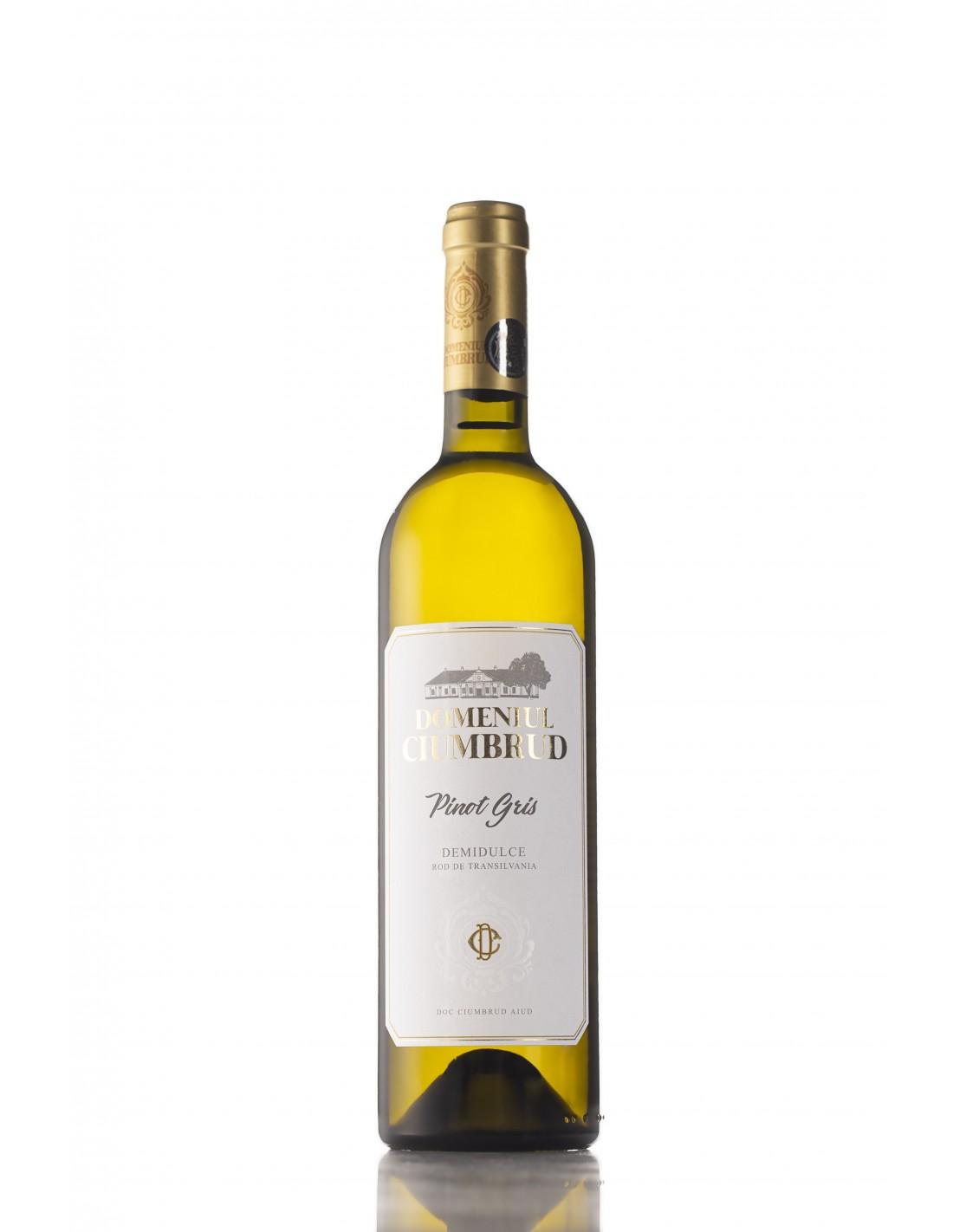 Vin alb demidulce, Pinot Gris, Domeniul Ciumbrud, 12.6% alc., 0.75L, Romania