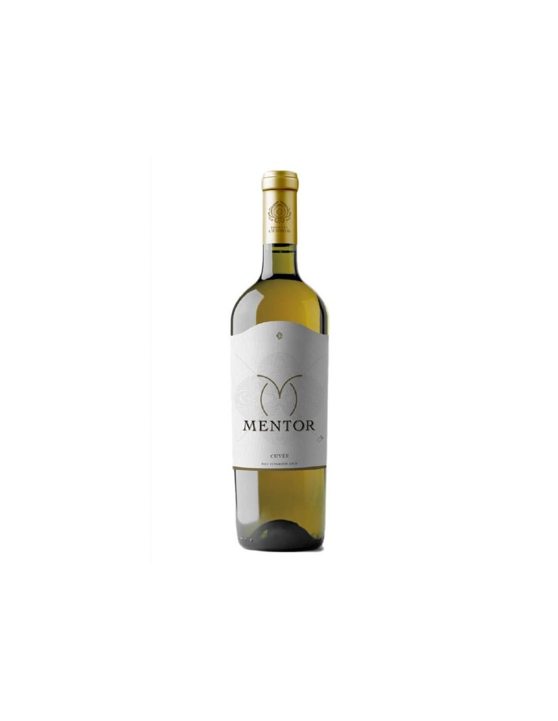 Vin alb demisec, Sauvignon Blanc & Traminer, Mentor, Ciumbrud 0.75L, Romania