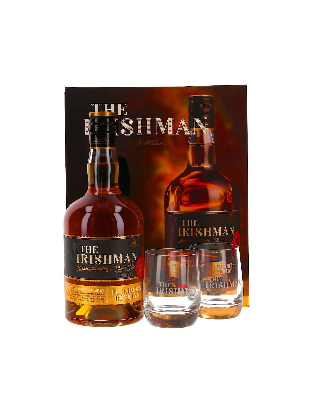 Whisky The Irishman Founders Reserve + Pahare 0.7L, 40% alc.