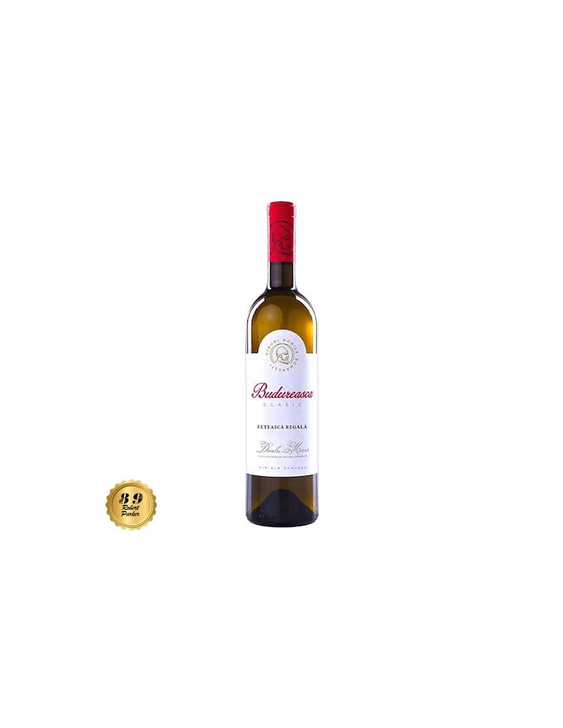 Vin alb demisec, Feteasca Regala, Budureasca Dealu Mare, 0.75L, 12% alc., Romania