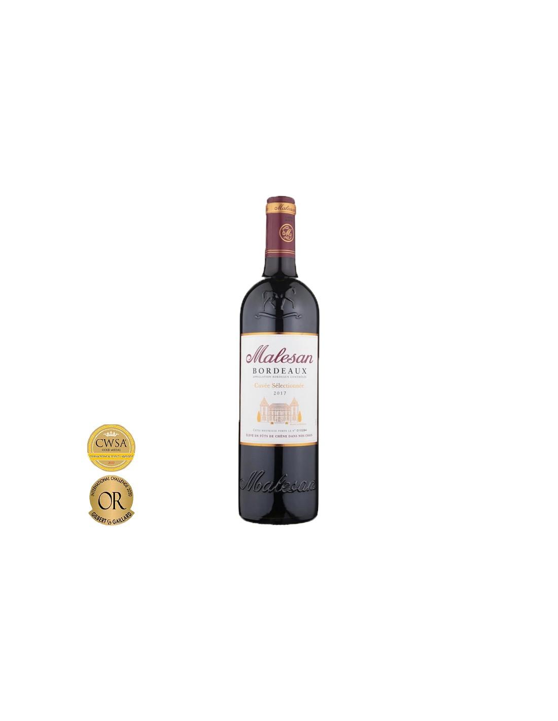 Vin rosu, Malesan Cuvée Sélectionné Bordeaux, 0.75L, 12% alc., Franta