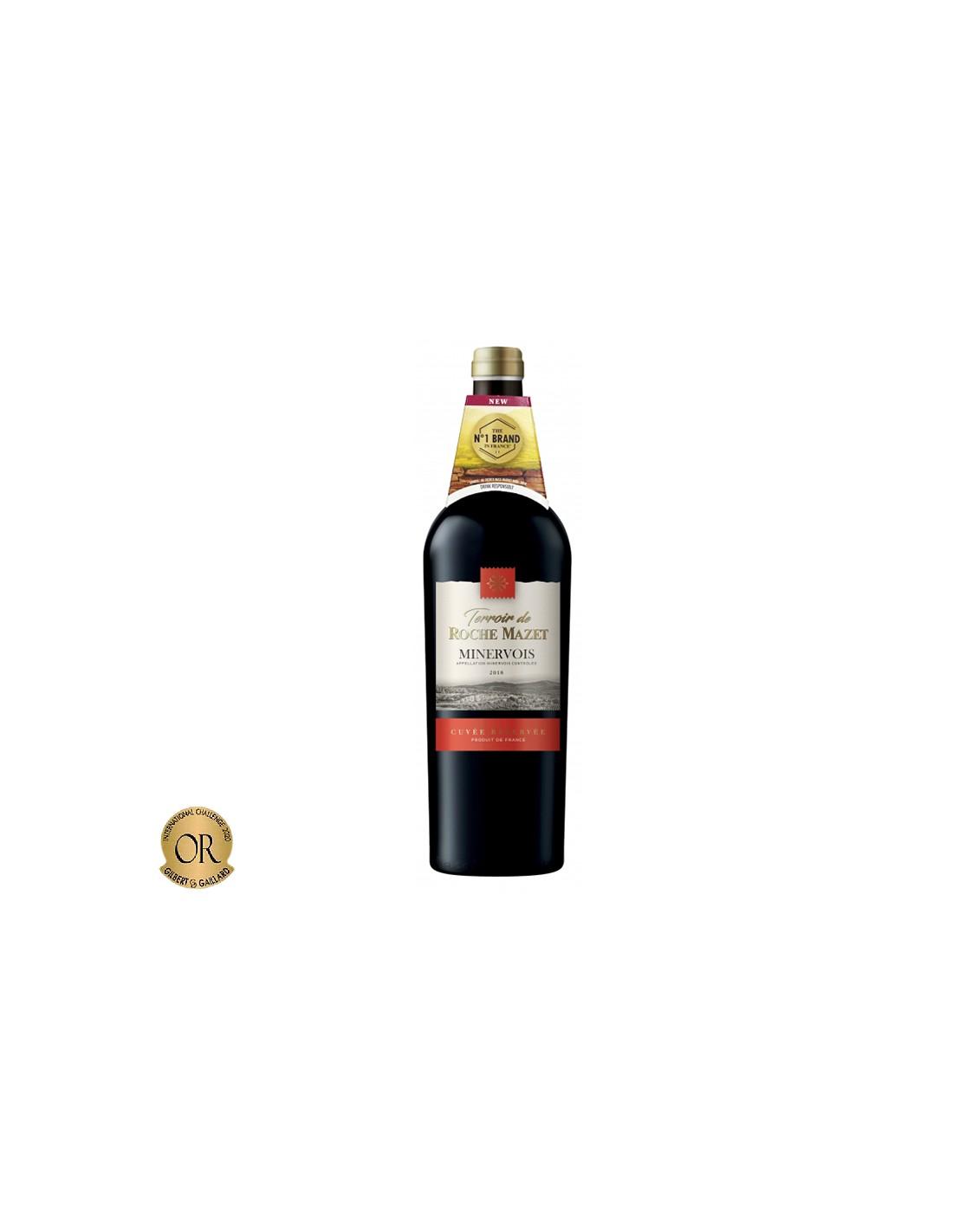 Vin rosu, Cupaj, Terroir de Roche Mazet, Minervois Cuvee Reserve, 0.75L, 13.5% alc., Franta