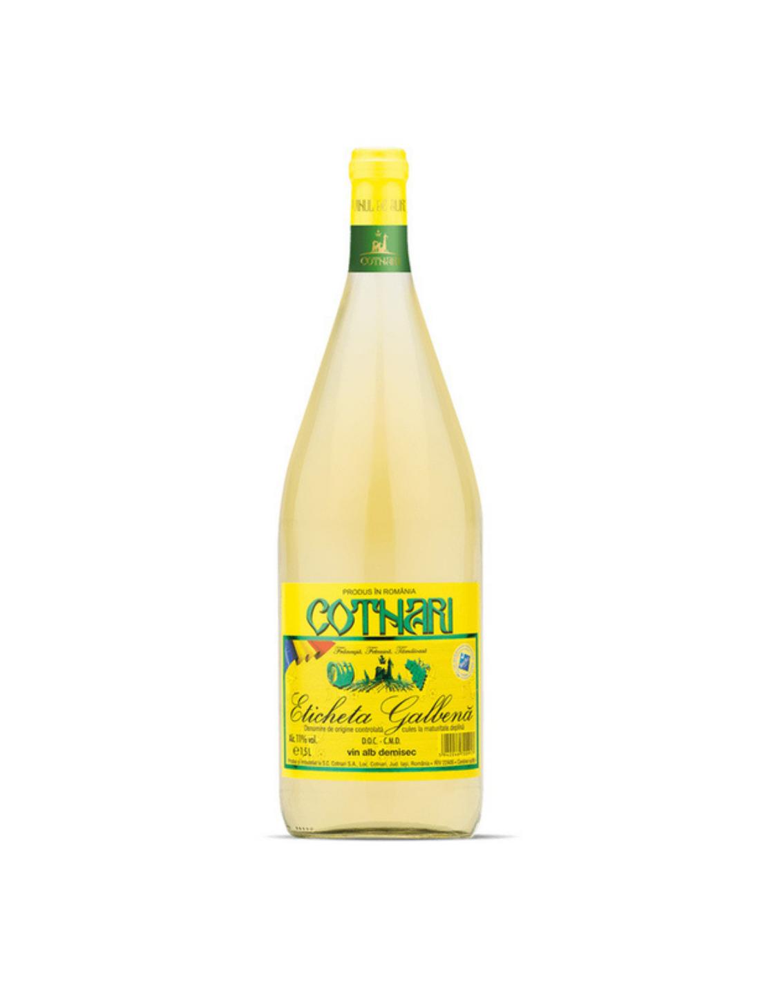 Vin alb demisec, Cotnari, Eticheta Galbena, 1.5L, 11% alc., Romania image0