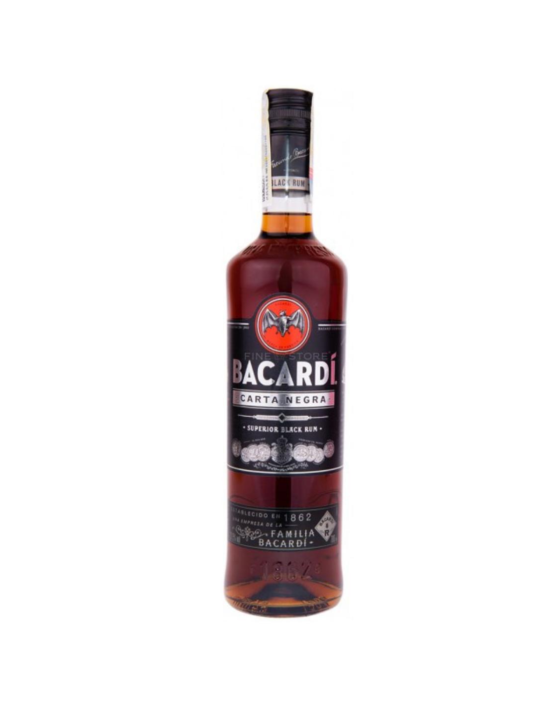 Rom negru Bacardi Carta Negra, 40% alc., 0.7L, Cuba