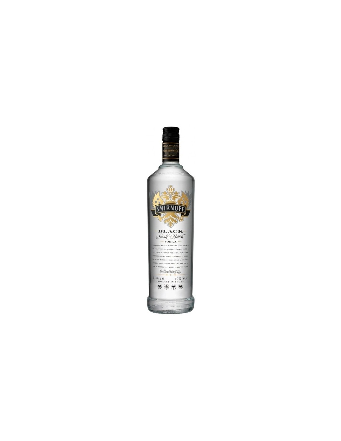 Vodca Smirnoff Black 1L, 40% alc., Rusia