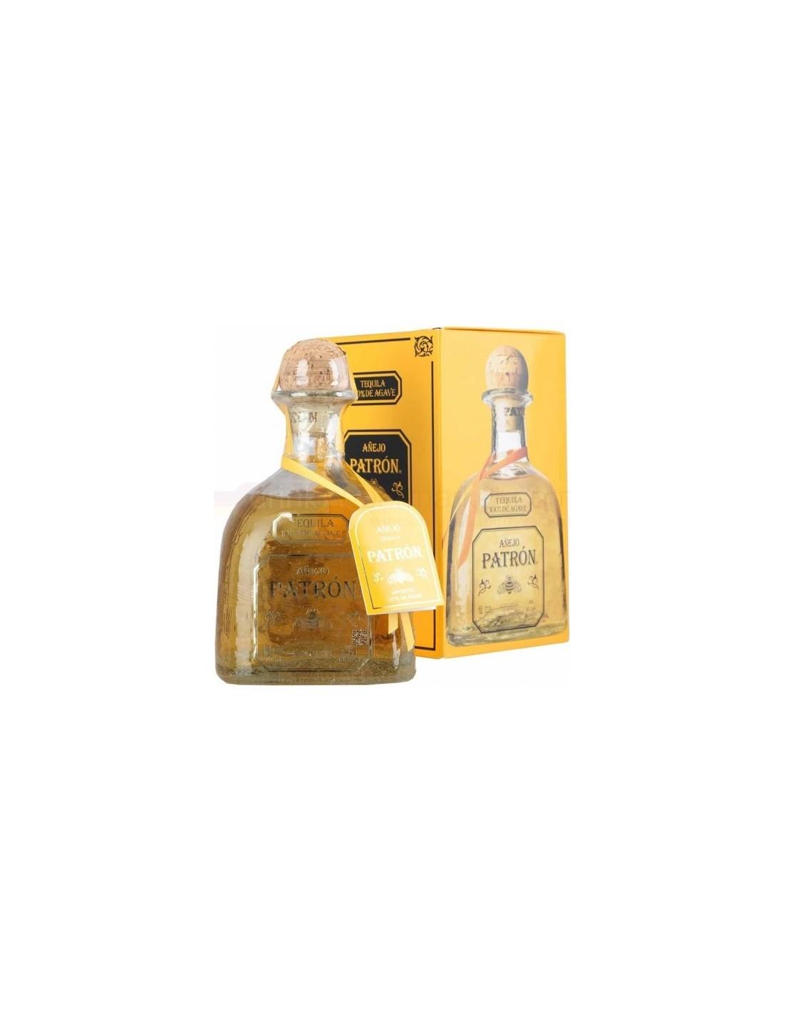 Tequila aurie Patron Anejo 0.7L, 40% alc., Mexic